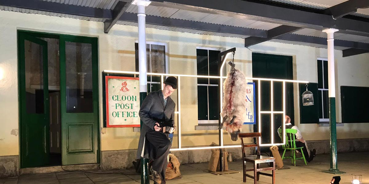 Druid Theatre Perform Outside Ballyglunin Station Galway Ireland October 2020